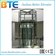 Tração Vvvf elevador panorâmico circular do passageiro com giro horizontal