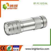 Vente en vrac en usine 3 * AAA Batterie à lumière blanche Light Metal 9 led Petite torche à lampe LED