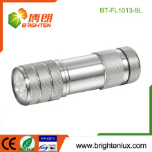 Factory Bulk Sale 3*AAA Battery Powered White Light Metal 9 led Small led Flashlight Torch