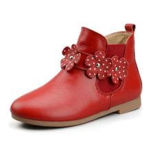 Горячая распродажа дети сапоги девушки Осень Зима кожа мода цветок обувь