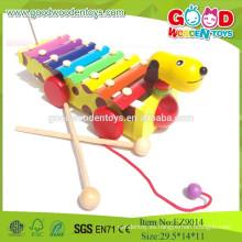 Juguetes de madera populares de los niños musicales, nuevo diseño del perro Xilófono, juguetes musicales Instrumentos de música