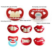 Ordens em massa engraçado lábio forma segura FDA silicone bebê mamilo