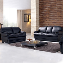 Wooden 3-Pieces Leather Cushions Combined Sofa Set