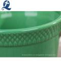 Nuevo diseño de forma redonda maceta de jardín de cerámica verde