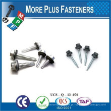 """Taiwan 1/4 """"-14 x 3/4"""" Hex Unslotted Hex Washer Head Epoxy # 3 410 Stainless Steel Bonded Sealing Washer Self-Drilling Screw"""