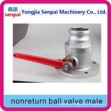 Válvula de esfera de sentido único não direccional macho