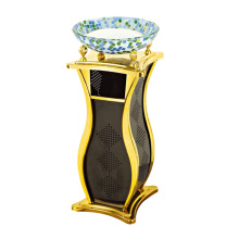 Fashionable Iron Dustbin for Lobby with Glass Ashtray (YW0069)