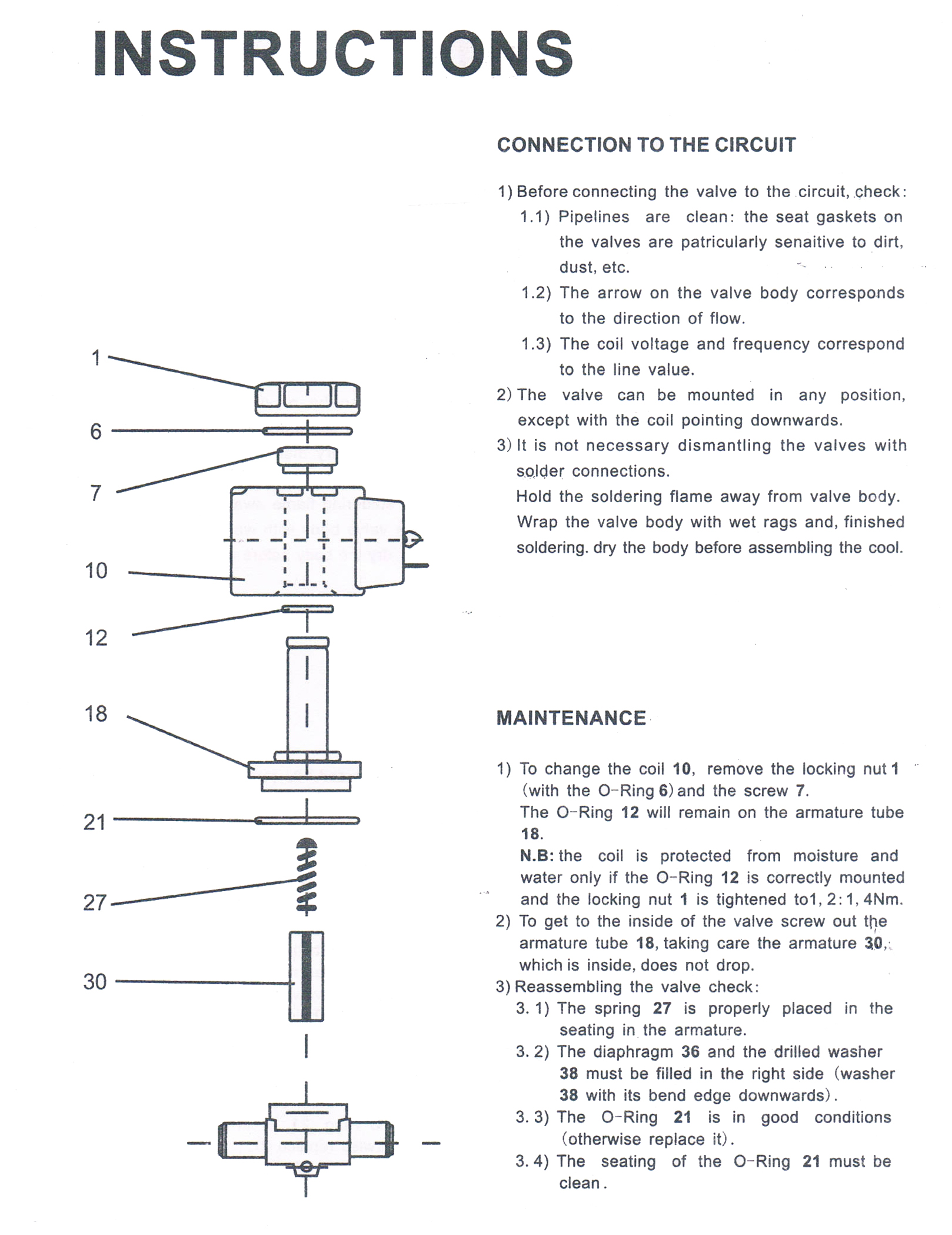 Instructions of MSV-1090/6 SAE Connection Refrigeration Solenoid Valve to control R12,R22;R134a,R410,R404