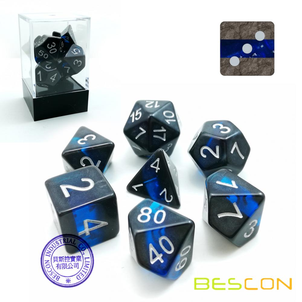 Bescon Mineral Rocks GEM VINES Ensemble de Dédiers Polyédricains de 7, RPG Role Playing Game Dice 7pcs Ensemble de SAPPHIRE