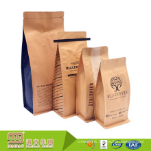 Manufacturer Coffee Bean Packaging Side Gusset Hot Sell Block Bottom Kraft Paper Bag With Tin Tin And Valve