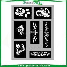 2015 getbetterlife réutilisable paillettes tatouage tatouage de gabarit gabarit/pochoir de tatouage/henna