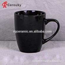 Vente en gros tasse de grès durable en noir et blanc