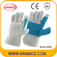 Double Palm Cow Split Leather Industrial Safety Work Gloves (11013)