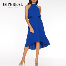 Types Of  Frill Overlay Midi Length Sleeveless High Low Royal Blue Prom Dress