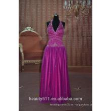 Una línea princesa halter alto cuello de té de longitud satinado tul vestido de fiesta baile de fin de curso formal p7041