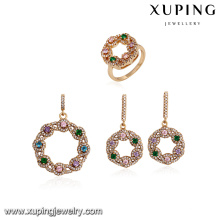 64150 xuping latest gold jewelry designs colorful fashion indian bridal jewelry set