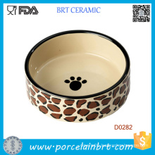 Dog Paw Painting Round Shape Porcelain Wholesale Dog Bowl