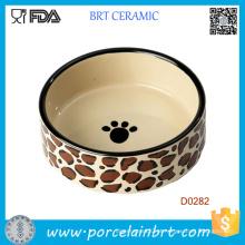 Dog Paw Painting Round Shape Porcelain Tigela de cachorro por atacado