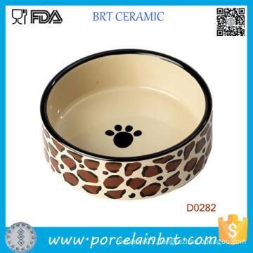 Dog Paw Painting Round Shape Porcelain Wholesale Dog Bowl