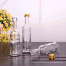 Round 50ml 60ml olive oil bottle wine glass bottle with screw aluminum cap