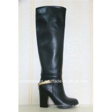 OEM Fashion Comfort Botas de salto alto de couro feminino