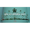 high quality high crown baseball caps pageant crown cases rose flower tiara gold tiara