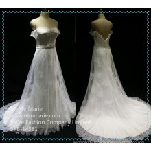 Bridal Train Dresses Lace Fabric Wedding Dress Beaded Belt Backless Bridal Gown BYB-14581