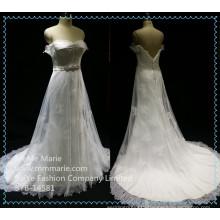 Bridal Train Dresses Lace Fabric Wedding Dress Beaded Belt Backless Bridal Gown BYB-14581