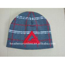 Jacquard tricotados chapéus beanies com logo bordado