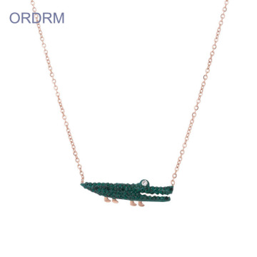 Perhiasan wanita Crystal Crocodile Charm Necklace Chain