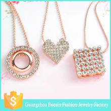 2016 Boosin Trendy Collar con colgante de corazón de piedras preciosas chapado en oro rosa