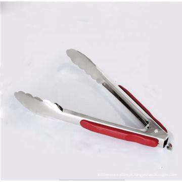 Ferramenta de aço inoxidável de 9 polegadas utensílios de cozinha ferramenta para churrasco grill pinças com alça de silicone