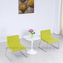 Elegant White Square Table and Stainless Steel Upholstered Chair for Hotel Bedroom (SP-CT844)