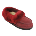 Good quality women's indoor moccasin lambskin slippers