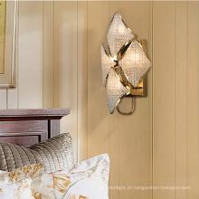 Candeeiro de parede moderno decorativo interior de cristal led para quarto