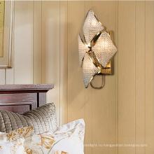 Современная внутренняя декоративная спальня с кристаллами светодиодный настенный светильник