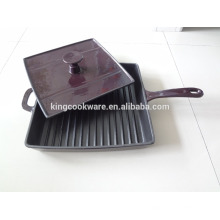 enamel cast iron grill pan with press lid