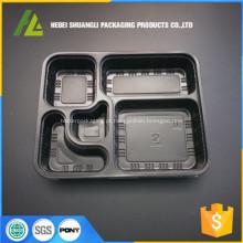 Recipiente de alimento descartável de plástico preto para microondas
