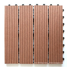 3D Wood Look Design Engineered Flooring Plastic Base Water Resistant WPC Wood Plastic Composite Tile Garden Outdoor Decking Tile