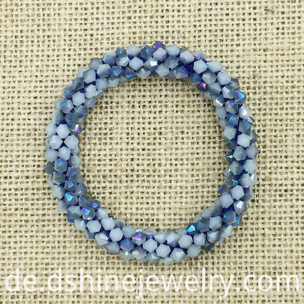Handmade Weaved Wrap Crystal Beads Bangle