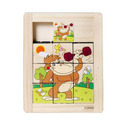 Wooden Sliding Puzzle Nine Grid Educational Wood Toy