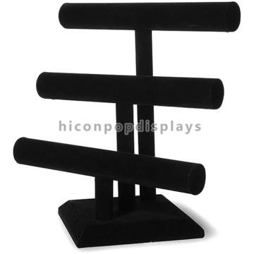 Heiße Verkaufs-Schmucksache-Einzelverkaufsspeicher-Schreibtisch 3-Stab-hölzerne Schmucksache-schwarze Samt-Halsketten-Ausstellungsstandplätze