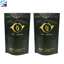 Black mylar foil stand up reusable tea bags