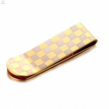 Hot selling gold lattice stainless steel money clip