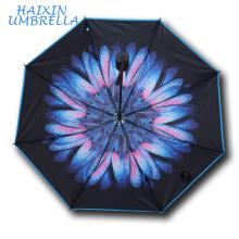 Mesdames gros nouveau design belle personnalisé cadeaux promotionnels ultraviolets Parasol Sun Rain 3 plier fleur parapluie femmes