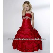 2012 vestidos de encargo de la muchacha de flor del vestido del desfile del vestido de bola acanalado appliqued rebordeado rojo caliente CWFaf4135