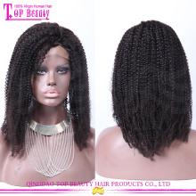 Haute densité 7A cheveux humains bouclés perruques 100% mongol afro kinky bouclés pleine perruque de dentelle