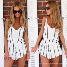 2017 Новый Печать Шелк 2 Шт Платье Черный Белый Полосы V Шеи Женская Одежда Платье