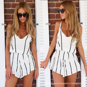 2017 New Silk Print 2 Pcs Dress Black White Strip V Neck Women Clothing Dress