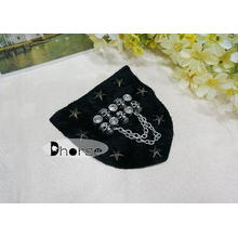 cool Stylish Black Beaded Appliques For Clothing With Skull